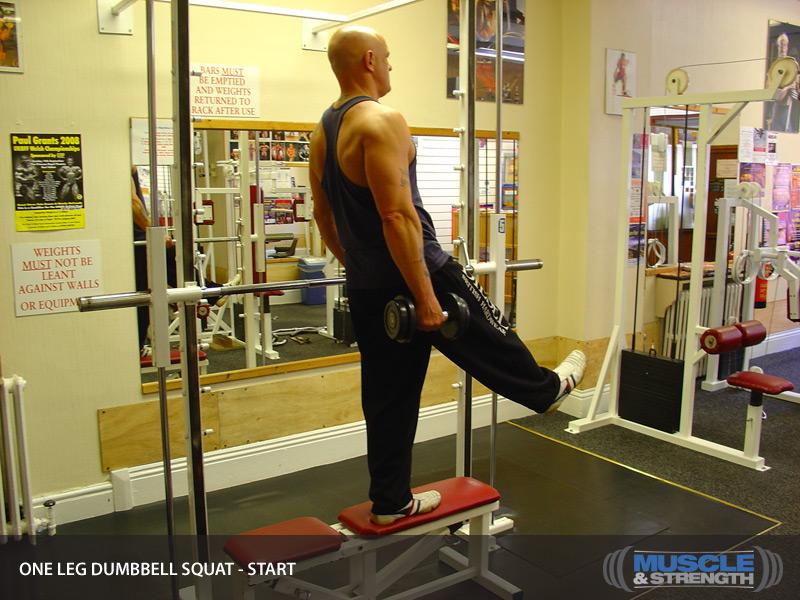 bench one leg dumbbell squat video exercise guide tips