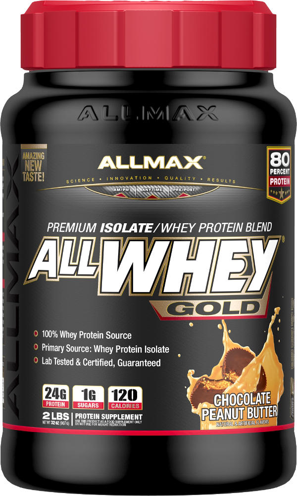 ALLWHEY Gold® is an ultra-premium 100% whey protein blend with 24g of Protein in every 30g serving!*