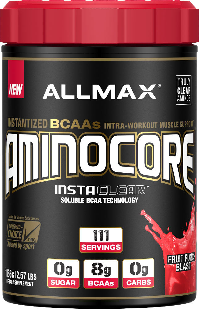 AminoCore is a ready-to-mix, delicious, single-serve Branched Chain Amino Acid matrix (BCAAs) that provides a whopping 8180mg of BCAAs per serving!