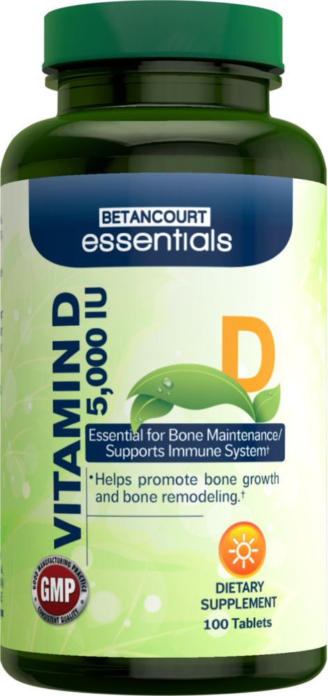 Betancourt Essentials Vitamin D - 5,000 IU/100 Tablets