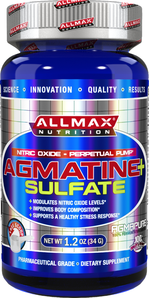 Allmax Agmatine Sulfate is a stable powder form and modulates nitric oxide levels, improves body composition, and supports a healthy stress response to intense exercise.*