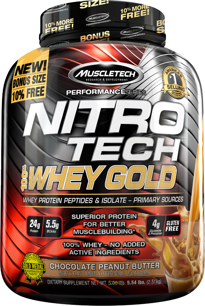 MuscleTech Nitro-Tech 100% Whey Gold - 5.5lbs Chocolate Peanut Butter MT0552