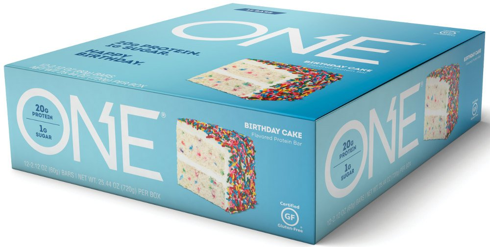 ONE Protein Bar Birthday Cake 212 Oz 12 Pack Gluten Free With High 20g And Low Sugar 1g Guilt Snacking For Healthy