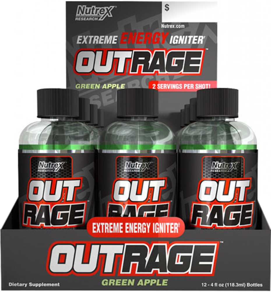 Nutrex Outrage Energy Shots - 12 Shots Green Apple NT0086