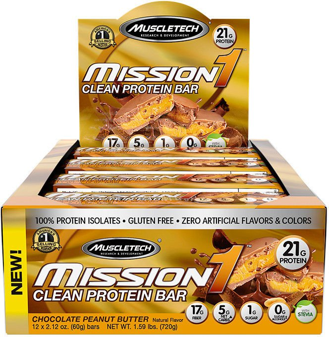 MuscleTech Mission1 Bars - Box of 12 Chocolate Peanut Butter MT0384