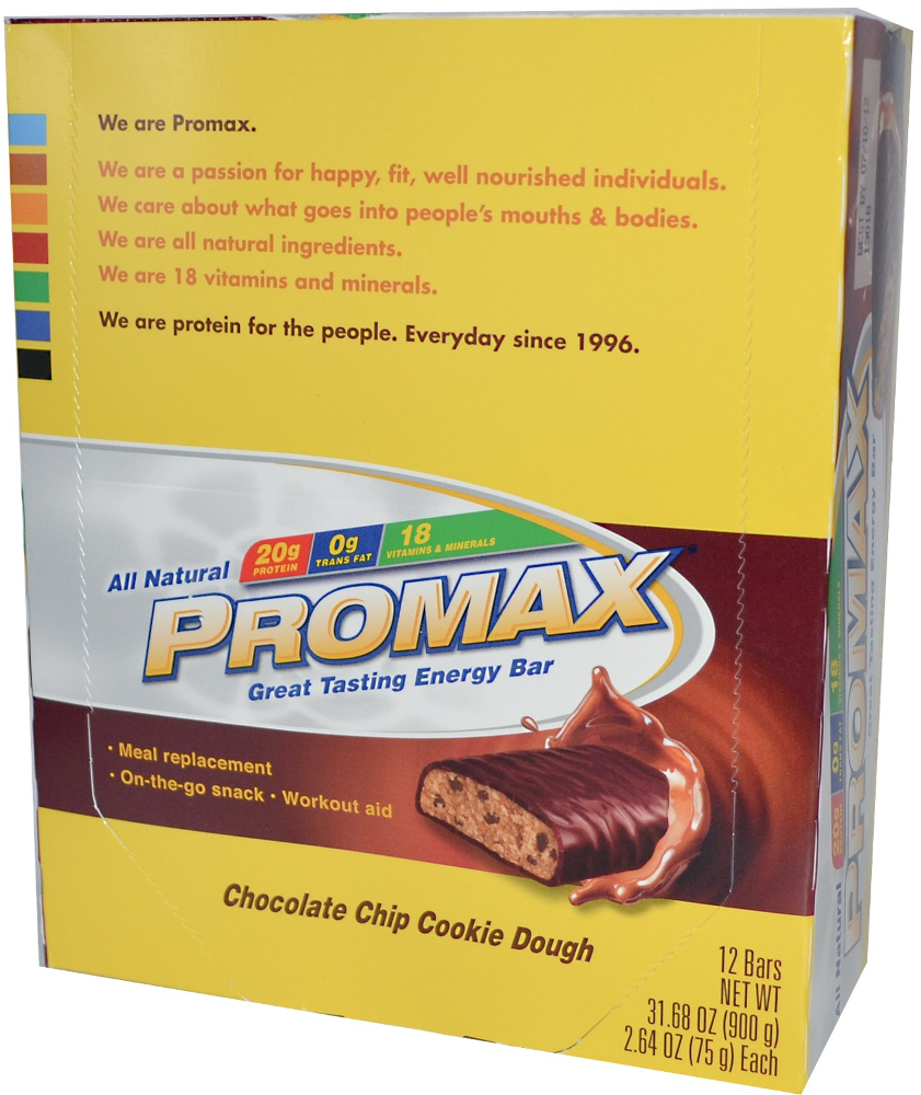 Image of Promax Protein Bar - Box of 12 Chocolate Chip Cookie Dough