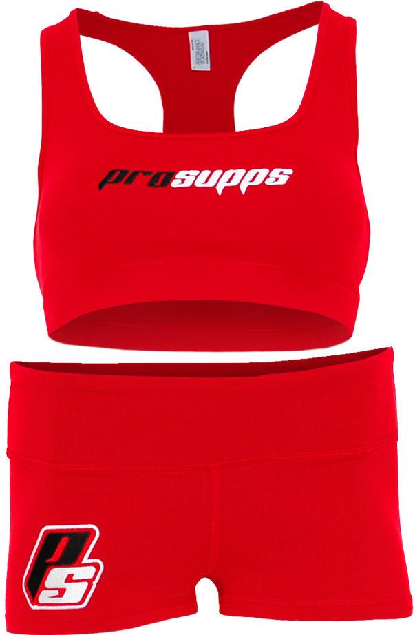 ProSupps Fitness Gear Sports Bra & Shorts - Red Medium