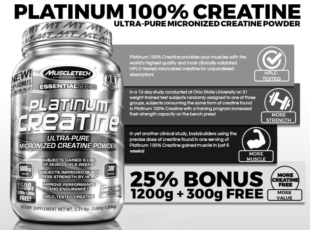 New Platinum Creatine 300 Servings